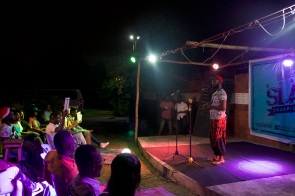 Ehalakasa Slam 2016 Slam MAster Hondred Percent addressing audience